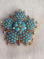 Big Bold Turquoise Blue AB Rhinestone Flower Brooch