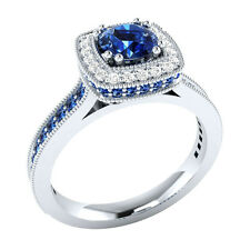 0.91 ct Certified Natural Diamond & Blue Sapphire 14K White Gold Engagement Ring