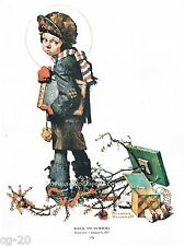 """Norman Rockwell print: """"BACK TO SCHOOL"""" 11x15"""" after Christmas vacation"""