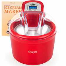 Savisto 1.5 Litre Red Ice Cream Maker, Sorbet & Frozen Yoghurt Dessert Machine