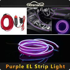 6.5ft Purple LED EL Wire 12V Car Interior Lamp Decor Neon Strip Cold light Panel