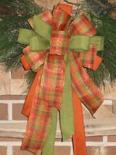 FALL PLAID BOW ORANGE SPARKLY WIRED for WREATHS POST GARLAND CRAFTS GIFTS