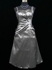 Cherlone Grey Prom Ball Evening Bridesmaid Formal Knee Length Dress Size 8-10