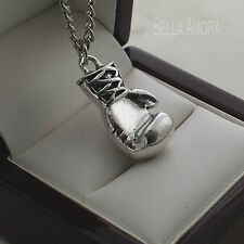 "Mens Stainless Steel Boxing Glove Pendant 19"" Chain Necklace New UK -208"