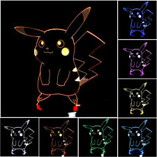 Pokemon GO Pocket Monster Pikachu 3D LED Night Light 7Color TouchDesk Lamp JNEG