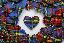 100! Lovely Padded Hearts - Blue Tartan & Blue Felt Embellishments - 20MM/0.75""