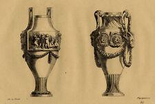Décoration Vases aux Puttis Jean Charles de laFosse Gravure XIXème Péquégnot
