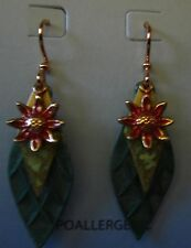 Jody Coyote Earrings JC0451 carnival QN315-01 flower green sunflower sun gold