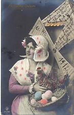 Ostern, Frau, Korb mit Eiern, Windmühle, col. Foto-AK, Stendal 1912