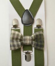 Kids Boys Baby SET Green Suspenders & Plaid Cotton clip on bow tie 6mon-5Years