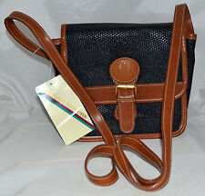 Michael Stevens Intl Black & Brown Pebbled Faux Leather Cross Body Bag NWT