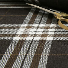 Quality Hard Wearing Plaid Tartan Stripe Chenille Upholstery Fabrics Dark Brown