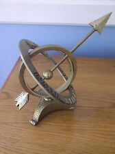 Vintage Solid Brass Armillary Sphere Globe Sundial with Roman Numerals