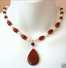 New 7-8mm white cultured pearl red ruby pendant necklace 18 ""