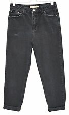 Topshop MOM High Waisted STONEWASHED BLACK Vintage Tapered Jeans SIze 12 W30 L30