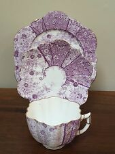 Antique Shelley Wileman PURPLE FLORAL Trio Cup Saucer Plate Set ~ England