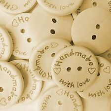 "100 Wooden ""Handmade with love"" Buttons  - Scrapbooking - Crafting - Sewing"