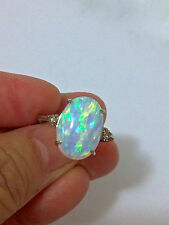 New 4.0 Ct. Australian White Fire Opal 10k White Gold Ring Champagne Diamond