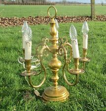 Rare Vintage Flemish French Style 5 Arm Brass Desk Table Lamp Very Nice