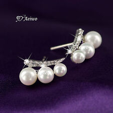 18K YELLOW WHITE GOLD GF 925 SILVER SWAROVSKI CRYSTAL PEARL STUD EARRINGS