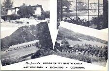 """Escondido, California Postcard """"Dr. Jensen's HIDDEN VALLEY HEALTH RANCH"""" c1940s"""
