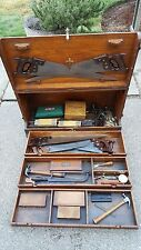 Large Antique Oak Carpenter Craftsman Tradesman Wood Tool Box 6 Disston Saws