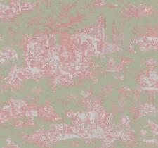 Wallpaper Designer French Country Toile Pale Pink on Pale Green