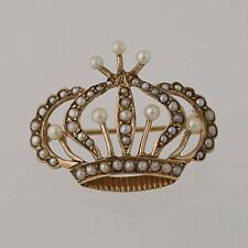 Edwardian Royal Crown Brooch - 10k Yellow Gold Seed Pearls Women's Antique