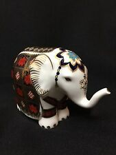Mint! Bone China Royal Crown Derby Small Imari Elephant Gold Stopper Figurine