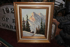 Vintage Oil Painting On Board-Small House Snow Covered Mountains-Detailed-LQQK