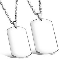 One pair Stainless Steel Plain Dog Tag Army Pendant Couple Necklace Silver Cool