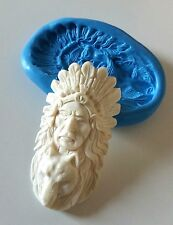 Native INDIAN WOLF SPIRIT Silicone Mould 65 mm Resin PMC Cabochon Fimo Fondant