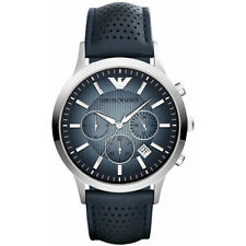 NEW EMPORIO ARMANI MENS GENUINE RENATO BLUE LEATHER WATCH - AR2473 - RRP £250