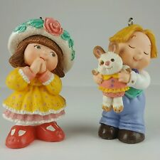 Hallmark Easter Ornament Bashful Gift 1997 Girl in Bonnet Boy with Rabbit Love