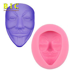 V Face Vendetta mask Cake Chocolate Silicone Molds DIY Fondant Decorating tools