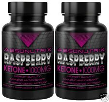 2 Bottle Absonutrix Raspberry Ketone 1000mg 100% Pure Ketones Super High Quality