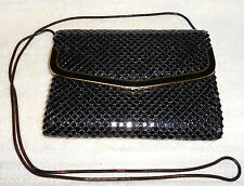 Vtg Blk Mesh Link  Purse with Black Snake Chain Cross Body Handle