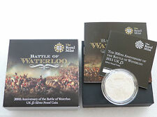 2015 Great Britain Battle of Waterloo £5 Five Pound Silver Proof Coin Box Coa
