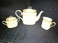 NORITAKE BARRYMORE TEAPOT & CREAMER AND SUGAR BOWL WITH LID