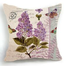 Retro Design 18'' Cushion Cover Pillow Case Purple Flower Butterfly Home Decor