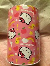 NEW Sanrio Hello Kitty Coin Bank Pencil Tin Metal Piggy Bank Money Save Lid 6""