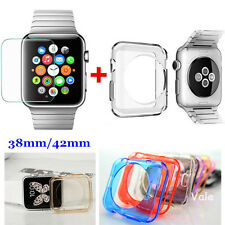TPU Silicone Case Cover+Glass Screen Protector For Apple Watch iWatch 42mm C1