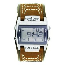 Softech Men's Digital Watch Wide Brown Strap Sportswatch Rectangle Face Quartz