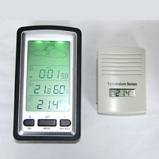 Digital Wireless Weather Forecast Station In/Outdoor Thermometer Clock Sensor