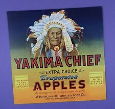 c1930's Pictorial Crate Label - Yakima Chief -  Unused Stock