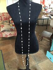 "74"" Long Faux Pearl And Lavender Beads on Delicate Silver tone Chain Necklace"