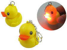 Yellow Rubber Duck Keychain with LED Light and Sound