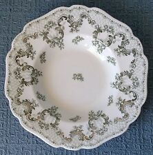 "Set of 6 ~ Johnson Brothers ~ ""Cloverly"" ~ 8¾"" Rim Soup Bowls ~ White Green Gold"