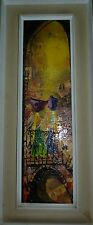 Impasto Oil Painting Two Arab Women on Jerusalem Balcony, Oil/C m./B, 69 x 19 cm