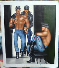 PEINTURE A L'HUILE INSPIREE DE TOM OF FINLAND DECORATION COMMERCE GAY